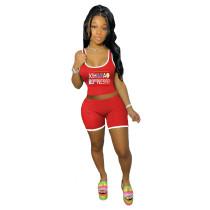 Fashion Sports Print Tank Top Shorts Two Piece Sets BLI-2254