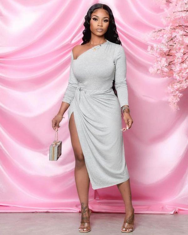 Plus Size Solid Long Sleeve Split Midi Dress MTY-6507