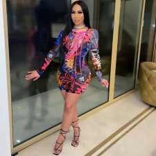 Sexy Printed Lace Up Long Sleeve Mini Dress TR-1106