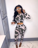 Sexy Printed See Through Long Sleeve 2 Piece Sets TR-1112