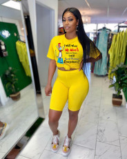 Fashion Letter Print T-shirt Shorts Two Piece Sets FNN-8589