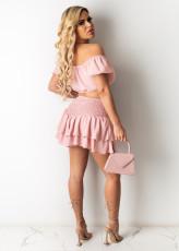 Sexy Tie-up One Word Collar Nightclub Fashion Short Skirt Suit LS-0340