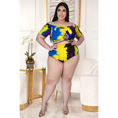 Plus Size Sexy Tie Up Printed Swimsuit Set ASL-7015