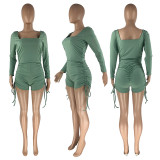 Solid Long Sleeve Drawstring Ruched Rompers CH-8161