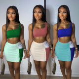 Contrast Color Splice Fashion Sexy Mini Skirt Suit NSFF-8046