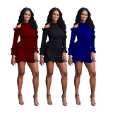 Sexy Fashion Long Sleeve Wooden Ear Dress BS-1257