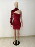 Sexy One Shoulder Long Sleeve Mini Dress DYF-1063