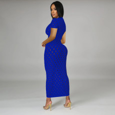 Solid Hole Short Sleeve Slim Maxi Dress TE-4220