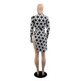 Sexy Long Sleeve Tie Up Print Dress YIBF-6052