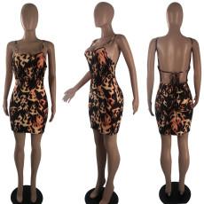 Flame Print Spaghetti Strap Mini Dress SIF-0050