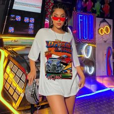 Summer New Street Fashion Print Long T-shirt MYF-Y208
