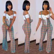 Sexy Short Sleeve Crop Top+Plaid Jumpsuit 2 Piece Sets GLF-8136