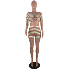 Sexy Stripes Short Sleeve Shorts Two Piece Sets YMF-6056