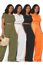Casual Solid Color Short Sleeve Wide Leg Pants Two Piece Sets FOSF-8059