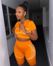 Sports Casual Fitness Short Sleeve Shorts Two Piece Sets YMF-6081