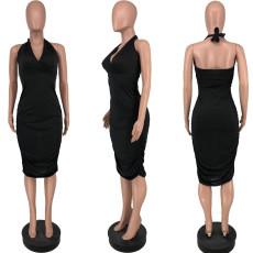 Black Sexy Halter Neck Midi Dress YJF-8375