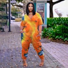 Plus Size Tie Dye Print V Neck Loose Jumpsuit BDF-8061