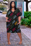 Plus Size Loose Letter Print V-neck Casual Pocket Midi Dress TK-6158