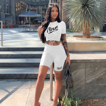 Fashion Casual PINK Letter Print Short Sleeve Shorts Two Piece Sets YIM-171