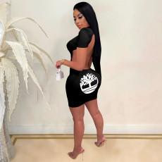 Fashion Sexy Print Short Sleeve Dress GHF-013