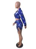 Sexy Printed Short Jacket+Bra Top+Lace Up Mini Skirt 3 Piece Sets TEN-204