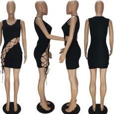 Black Sexy Hollow Tie Up Mini Dress QMF-7032