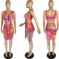 Tie Dye Pint Hollow Lace Up Two Piece Skirt Sets MN-9293
