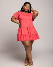 Plus Size Fat MM Solid Short Sleeve Mini Dress CQF-947