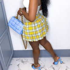 Sexy Plaid Pleated Mini Skirt MN-9295