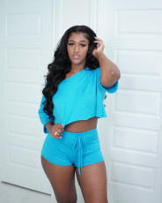 Casual Solid Loose Top And Shorts 2 Piece Sets QY-5233