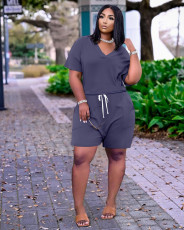Solid V Neck Casual Two Piece Shorts Set YSYF-7289