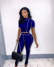 Fashion Slim Line Design Short Sleeve And Hem Split Pants Two Piece Set MUL-161