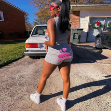 Casual Sports Letter Two Piece Shorts Set SZF-8014