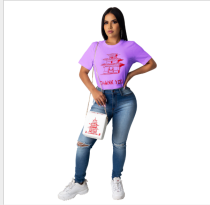 Casual Printed Short Sleeve O Neck T Shirt DDF-8013