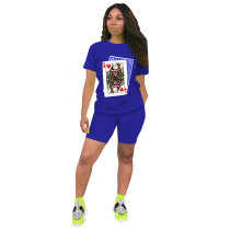 Poker Print Short Sleeve Casual Two Piece Short Sets DDF-8020