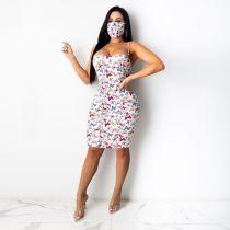 Butterfly Print Spaghetti Strap Bodycon Dress With Mask DDF-8031