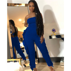 Sexy Solid Ruffled Tight Tube Jumpsuits YIY-5271
