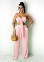 Sexy Solid Tube Top+Wide Leg Pants 2 Piece Sets TR-1123