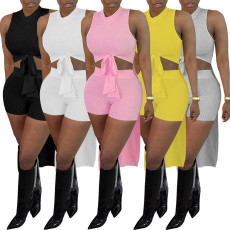 Solid Ribbed Sleeveless High Low Top+Shorts 2 Piece Sets YH-5212
