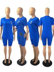 Casual Blue T Shirt And Shorts 2 Piece Suits FOSF-8060