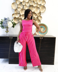Casual Striped Sleeveless Wide Leg Jumpsuit YYF-6568