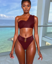 Sexy One Shoulder High Waist Bikinis Set DYF-1066