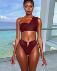 Sexy One Shoulder High Waist Bikinis Set DYF-1066