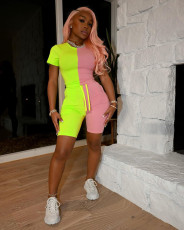 Contrast Color Short Sleeve Two Piece Sets MIL-199
