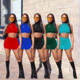 Solid Sleeveless Ctop Top Mini Skirt 2 Piece Sets NSFF-8051