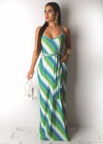Casual Print Sling Maxi Dress With Belt DAI-8163
