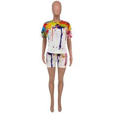 Large Size Splash Ink Print Short Sleeve Shorts Two Piece Sets CYAO-8083