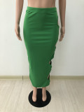 Solid Sexy Hole Hollow Out Long Skirt DYF-1068