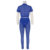 Solid Short Sleeve Hole Hollow Out 2 Piece Sets ZSD-0382