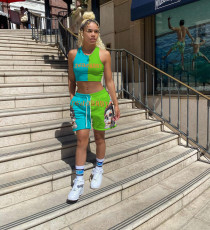 Color Block Fashion Casual Sports Print Vest And Shorts Suit ANNF-6068